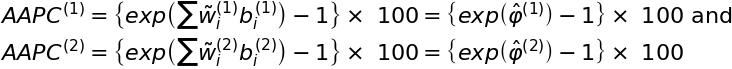 AAPC^{\left( 1 \right)} = \left\{ exp \left( \sum \~w_i^{\left( 1 \right)} b_i^{\left( 1 \right)} \right) - 1 \right\} \times\ 100 = \left\{ exp \left( \^\varphi^{\left( 1 \right)} \right) - 1 \right\} \times\ 100$ and $AAPC^{\left( 2 \right)} = \left\{ exp \left( \sum \~w_i^{\left( 2 \right)} b_i^{\left( 2 \right)} \right) - 1 \right\} \times\ 100 = \left\{ exp \left( \^\varphi^{\left( 2 \right)} \right) - 1 \right\} \times\ 100.